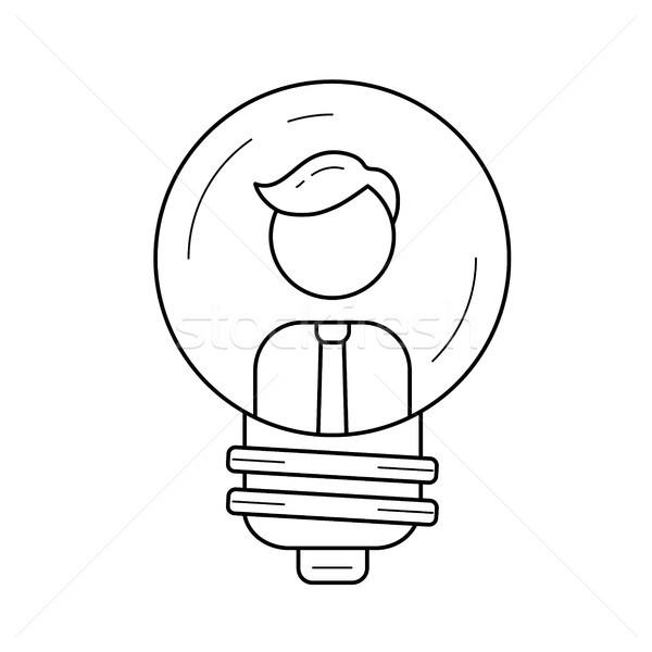 Businessman inside a light bulb vector line icon. Stock photo © RAStudio