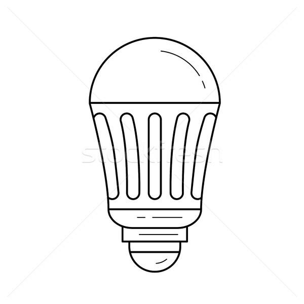 LED energy saving light bulb vector line icon. Stock photo © RAStudio