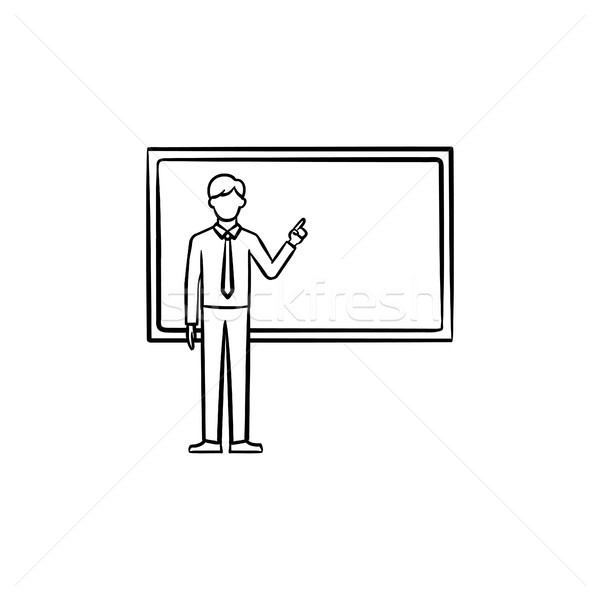Professor next to the blackboard hand drawn icon. Stock photo © RAStudio
