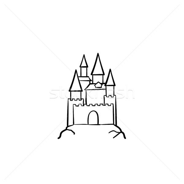 Fairytale castle hand drawn sketch icon. Stock photo © RAStudio