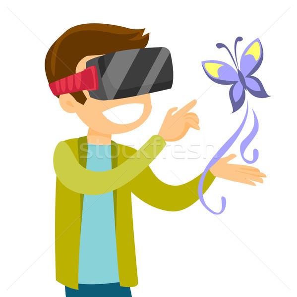 Stockfoto: Blanke · man · hoofdtelefoon · technologie · vlinder · virtueel · realiteit