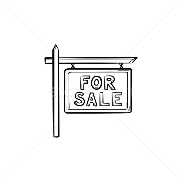 For sale sign hand drawn outline doodle icon. Stock photo © RAStudio