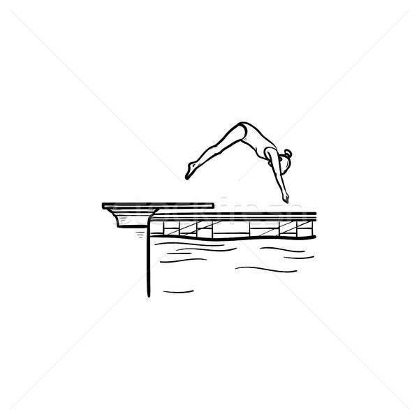 Piscina femminile diving contorno doodle Foto d'archivio © RAStudio