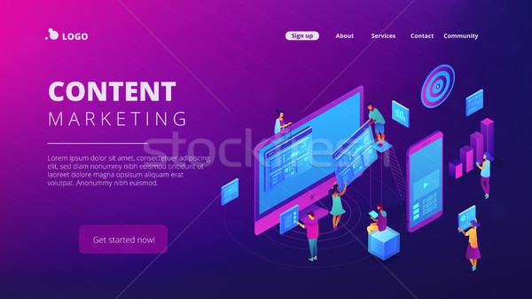 Isométrica conteúdo marketing aterrissagem página trabalhando Foto stock © RAStudio