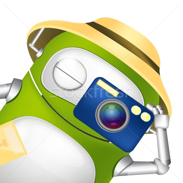 Cute robot turystycznych fotograf wektora Zdjęcia stock © RAStudio