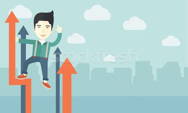 успешный китайский бизнесмен стоять Top графа Сток-фото © RAStudio