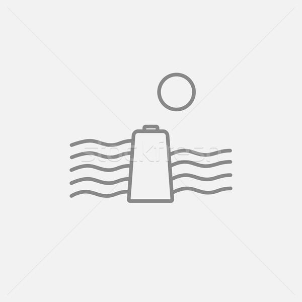 Solar energy and hydropower line icon. Stock photo © RAStudio