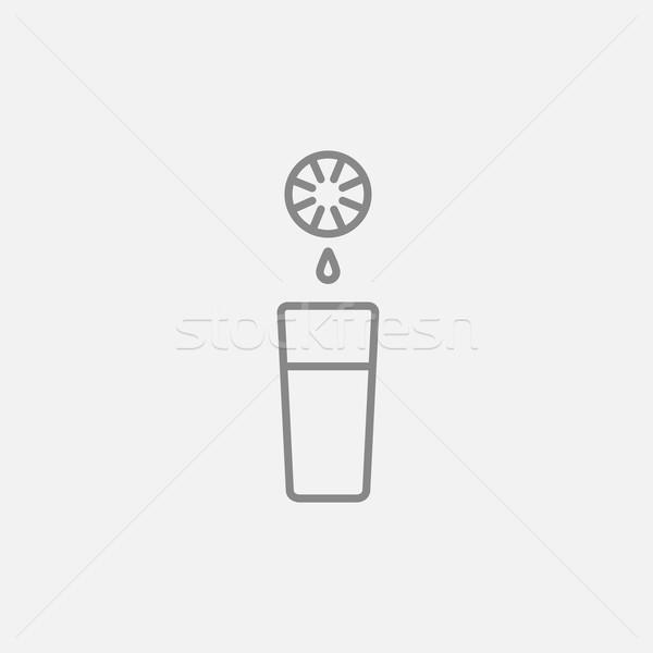 стекла сока линия икона веб мобильных Сток-фото © RAStudio