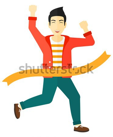 Businessman crossing finish line. Stock photo © RAStudio