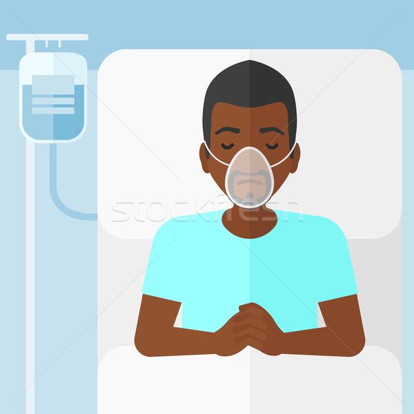 Hasta adam oksijen maskesi kan kan nakli Stok fotoğraf © RAStudio
