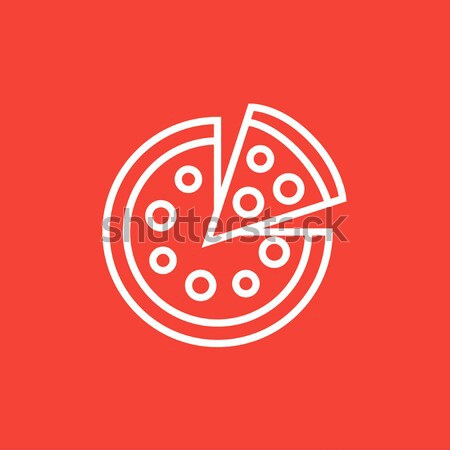 Tutto pizza slice line icona angoli web Foto d'archivio © RAStudio