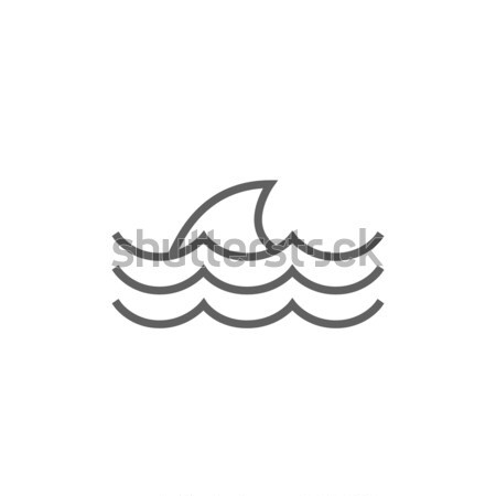 Stockfoto: Haai · vin · boven · water · lijn · icon