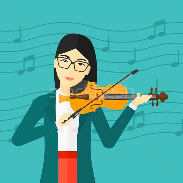Nő játszik hegedű ázsiai kék hangjegyek Stock fotó © RAStudio