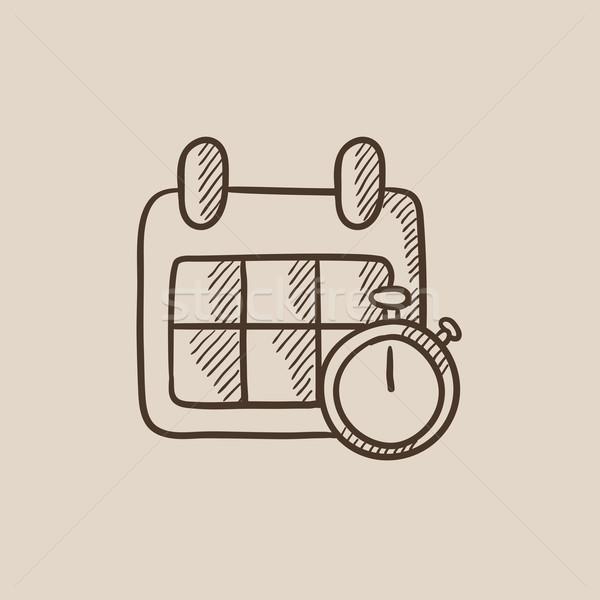 カレンダー ストップウオッチ スケッチ アイコン ウェブ 携帯 ストックフォト © RAStudio