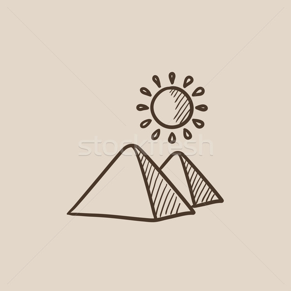 Egipcjanin piramidy szkic ikona internetowych komórkowych Zdjęcia stock © RAStudio