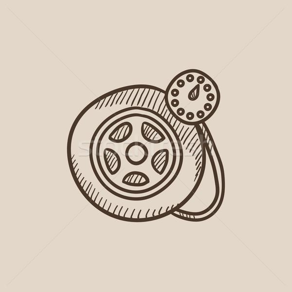 Nyomás kaliber autógumi rajz ikon háló Stock fotó © RAStudio