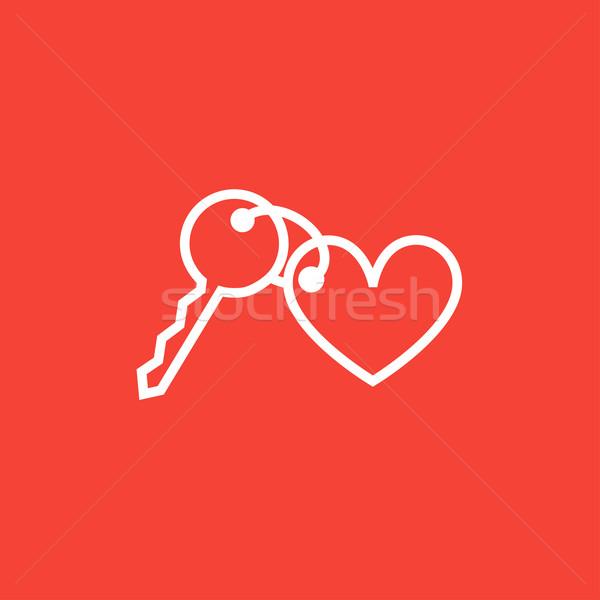 Cacko klucze serca line ikona Zdjęcia stock © RAStudio