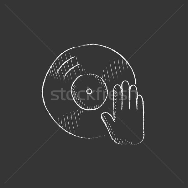 Lemez kézzel rajzolt kréta ikon kéz vektor Stock fotó © RAStudio