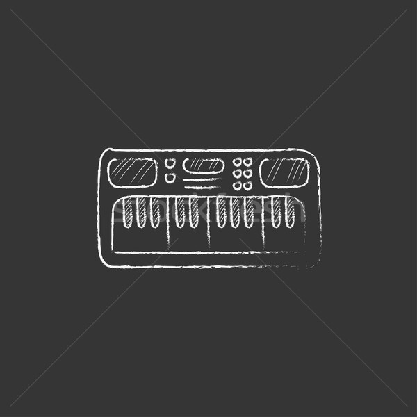 Synthesizer. Drawn in chalk icon. Stock photo © RAStudio