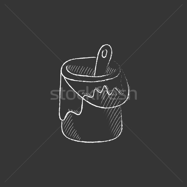 Paint brush in the paint tin. Drawn in chalk icon. Stock photo © RAStudio