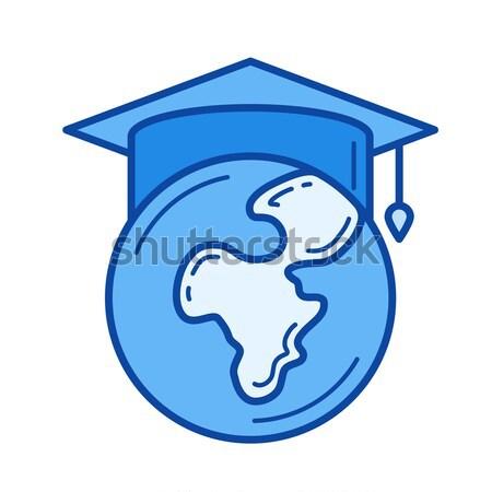 Globe in graduation cap line icon. Stock photo © RAStudio