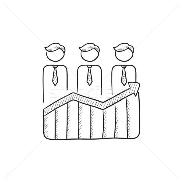 üzletemberek áll nyereség grafikon rajz ikon Stock fotó © RAStudio