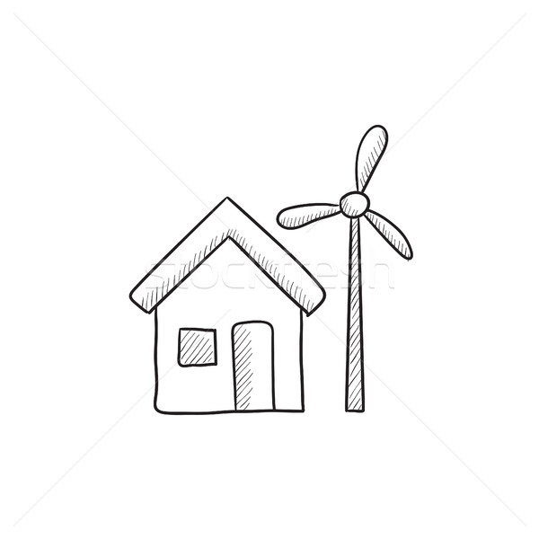 House with windmill sketch icon. Stock photo © RAStudio