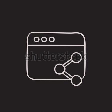 Browser window with share symbol sketch icon. Stock photo © RAStudio