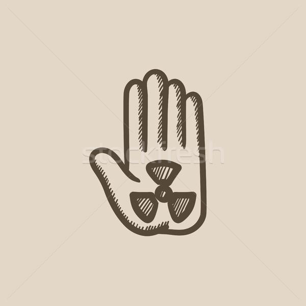 Radiazione segno Palm sketch icona vettore Foto d'archivio © RAStudio