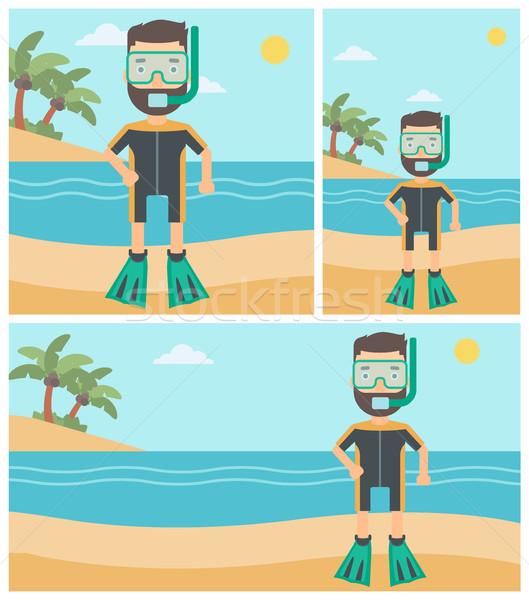 мужчины пляж человека дайвинг костюм Сток-фото © RAStudio