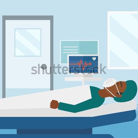 Nő kórházi ágy ázsiai ágy kórház beteg Stock fotó © RAStudio
