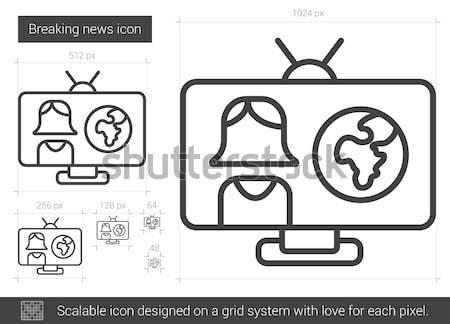 Rendkívüli hírek vonal ikon vektor izolált fehér Stock fotó © RAStudio