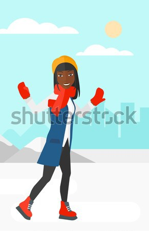 Woman ice skating vector illustration. Stock photo © RAStudio