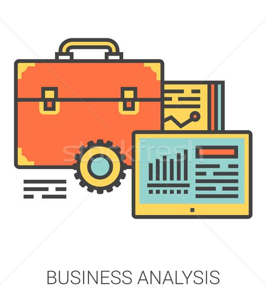 Stock photo: Business analysis line icons.