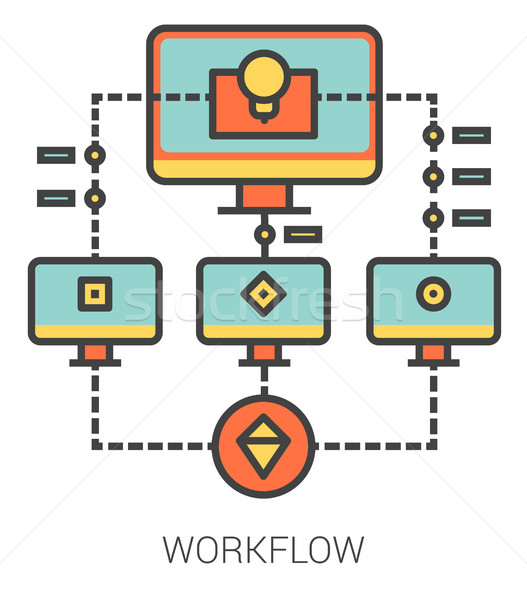 Workflow lijn iconen metafoor project Stockfoto © RAStudio