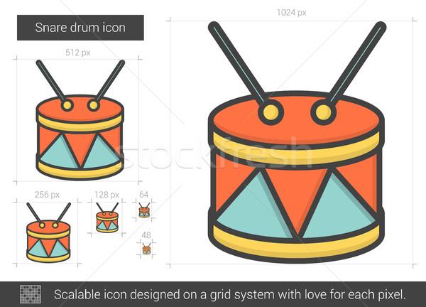 барабан линия икона вектора изолированный белый Сток-фото © RAStudio