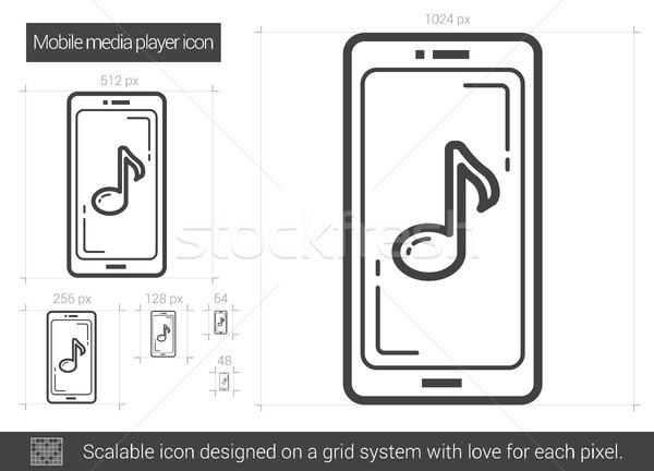 Mobile media player line icon. Stock photo © RAStudio