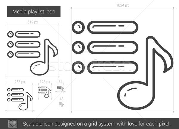 Media playlist line icon. Stock photo © RAStudio