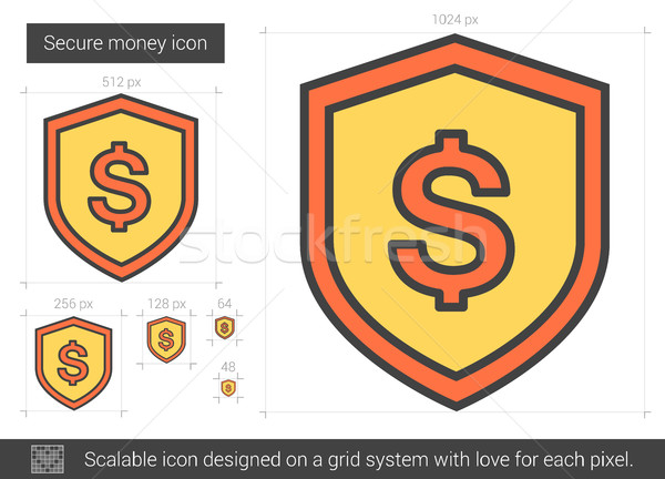 Beveiligde geld lijn icon vector geïsoleerd Stockfoto © RAStudio