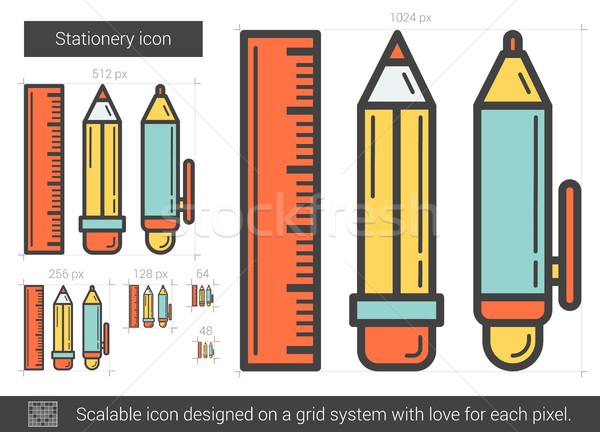 Papelería línea icono vector aislado blanco Foto stock © RAStudio