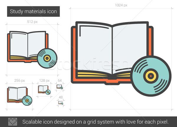 étude matériaux ligne icône vecteur isolé Photo stock © RAStudio