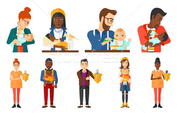 Wektora zestaw macierzyństwo rodzicielstwo kobieta w ciąży Zdjęcia stock © RAStudio