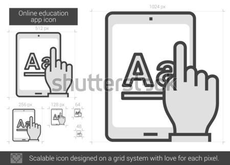 онлайн образование приложение линия икона вектора Сток-фото © RAStudio