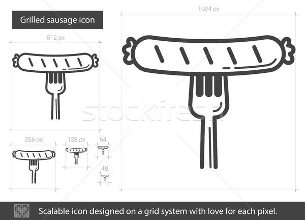 Grilled sausage line icon. Stock photo © RAStudio