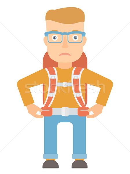 Sad caucasian tourist vector illustration. Stock photo © RAStudio