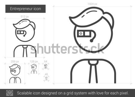 Vállalkozó vonal ikon vektor izolált fehér Stock fotó © RAStudio