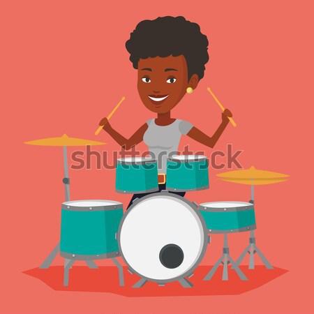 Man spelen trommel uitrusting drums glimlachend Stockfoto © RAStudio