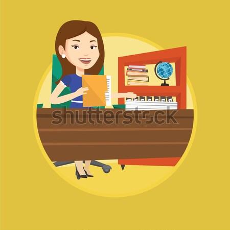 Iş kadını kulaklık çalışma ofis kafkas kadın Stok fotoğraf © RAStudio