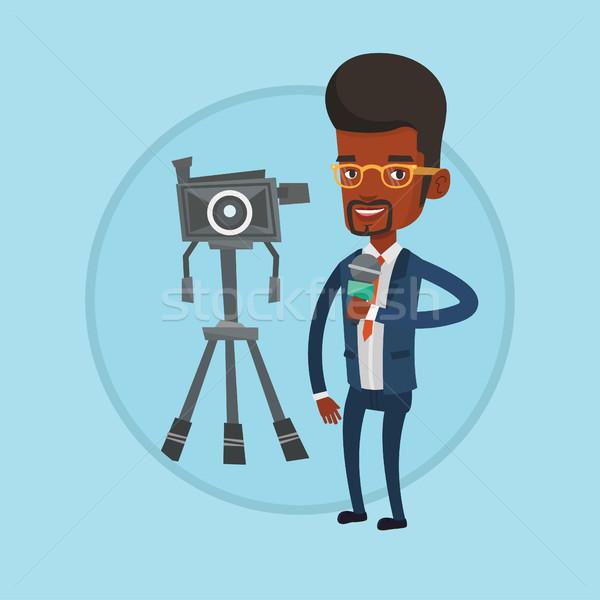 Tv reportero micrófono cámara pie Foto stock © RAStudio