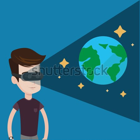 человека гарнитура открытых пространстве играет виртуальный Сток-фото © RAStudio